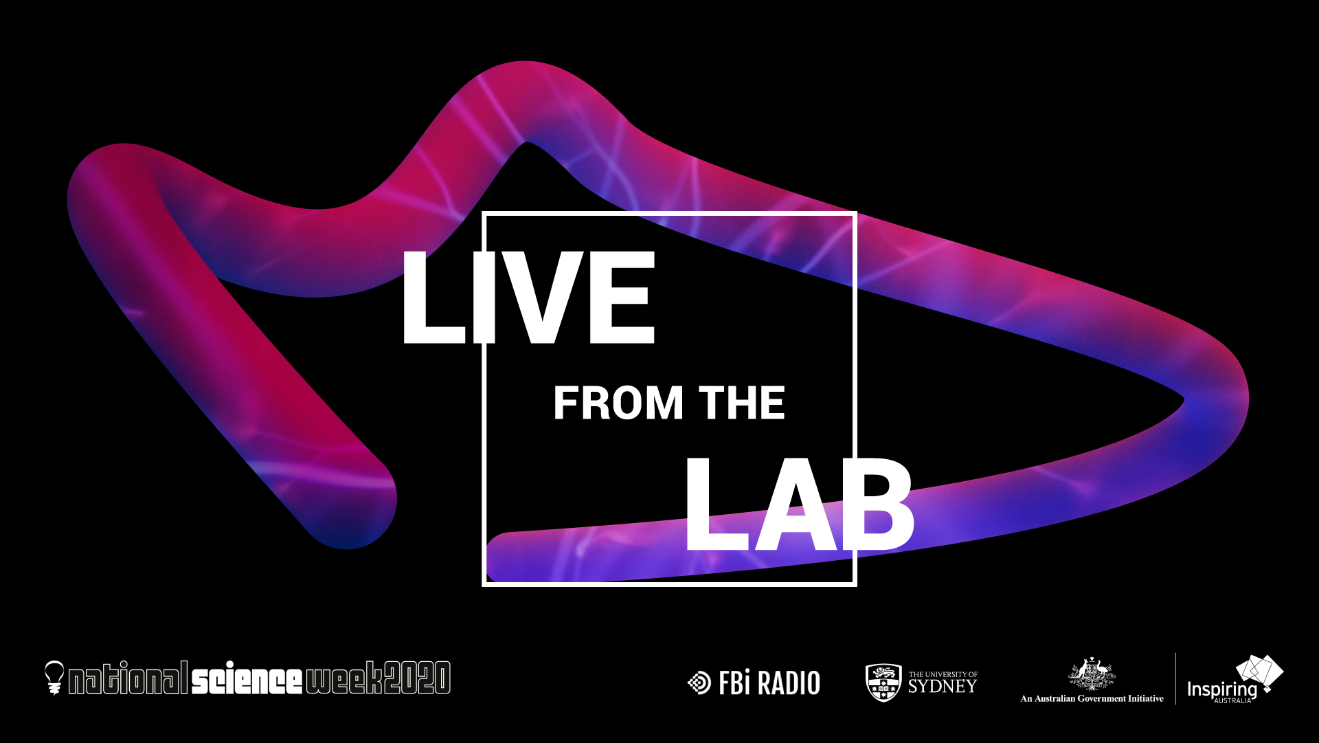 Purple, blue, snake-shaped object curls around white text Live From The Lab