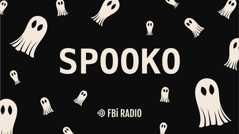 White ghosts swirling around the word 'Spooko' on a dark background