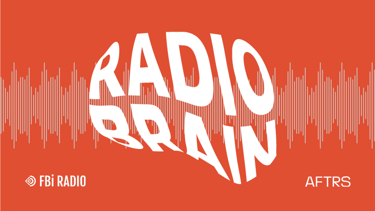 """The words """"radio brain"""" in the shape of a human brain. White text on red background."""